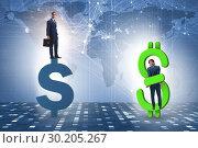 Купить «Businessman in dollar and debt concept», фото № 30205267, снято 18 марта 2019 г. (c) Elnur / Фотобанк Лори