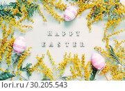Купить «Easter background. Easter eggs , mimosa flowers and festive inscription Happy Easter», фото № 30205543, снято 7 марта 2018 г. (c) Зезелина Марина / Фотобанк Лори