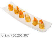 Купить «Pancakes rolls with salted salmon on a plate», фото № 30206307, снято 27 марта 2019 г. (c) Яков Филимонов / Фотобанк Лори