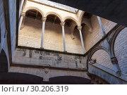 Купить «Gallery in royal residence of Monastery of Santes Creus», фото № 30206319, снято 27 января 2019 г. (c) Яков Филимонов / Фотобанк Лори