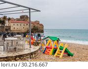 Купить «View  beach of Budva in winter. Montenegro», фото № 30216667, снято 21 февраля 2018 г. (c) Николай Коржов / Фотобанк Лори