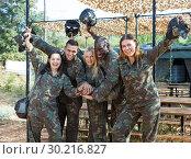 Купить «Friendly team of players wearing camouflage», фото № 30216827, снято 11 августа 2018 г. (c) Яков Филимонов / Фотобанк Лори