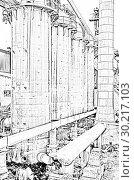 Купить «Old abandoned Metallurgical Plant. Blast furnace plant», иллюстрация № 30217103 (c) Евгений Ткачёв / Фотобанк Лори