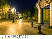 Купить «City alley sidewalk at night. Pedestrian street on a summer night», фото № 30217131, снято 22 сентября 2015 г. (c) Евгений Ткачёв / Фотобанк Лори