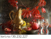 Купить «Still-life with a copper jug and pomegranate on a wet glass», фото № 30232227, снято 2 марта 2019 г. (c) Марина Володько / Фотобанк Лори