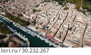 Купить «Aerial view of historic center of Beaucaire city, France», видеоролик № 30232267, снято 24 октября 2018 г. (c) Яков Филимонов / Фотобанк Лори