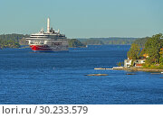 Купить «Islands of Stockholm archipelago on background of Ferry Viking in Baltic Sea. Стокгольм, Швеция», фото № 30233579, снято 25 сентября 2018 г. (c) Валерия Попова / Фотобанк Лори