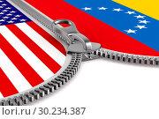 Купить «flag Venezuela and USA and zipper. 3D illustration», иллюстрация № 30234387 (c) Ильин Сергей / Фотобанк Лори