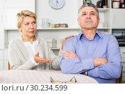 Купить «Mature couple quarrels», фото № 30234599, снято 21 августа 2019 г. (c) Яков Филимонов / Фотобанк Лори