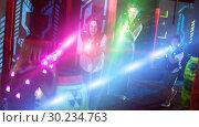 Купить «Kids and parents in beams during laser tag game», фото № 30234763, снято 6 июня 2018 г. (c) Яков Филимонов / Фотобанк Лори