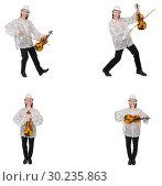 Купить «Young man playing violin isolated on white», фото № 30235863, снято 21 марта 2019 г. (c) Elnur / Фотобанк Лори