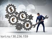 Купить «Businessman in multiple currencies concept», фото № 30236159, снято 26 марта 2019 г. (c) Elnur / Фотобанк Лори