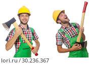 Купить «Industrial worker with hatchet isolated on white», фото № 30236367, снято 26 марта 2019 г. (c) Elnur / Фотобанк Лори