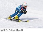 Купить «Горнолыжник мчится с горы во время соревнований по горнолыжному спорту», фото № 30241231, снято 10 февраля 2019 г. (c) А. А. Пирагис / Фотобанк Лори