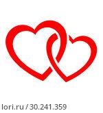 Купить «Two intertwined hearts icon», иллюстрация № 30241359 (c) Сергей Лаврентьев / Фотобанк Лори