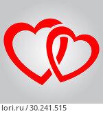 Купить «Two red hearts», иллюстрация № 30241515 (c) Сергей Лаврентьев / Фотобанк Лори