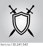 Купить «Shield and swords. Vector icon», иллюстрация № 30241543 (c) Сергей Лаврентьев / Фотобанк Лори