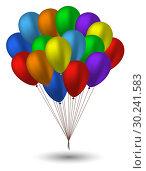 Купить «Seven balloons in the colors of the rainbow», иллюстрация № 30241583 (c) Сергей Лаврентьев / Фотобанк Лори