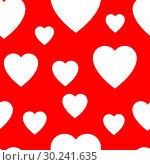Купить «Seamless pattern from simple flat hearts», иллюстрация № 30241635 (c) Сергей Лаврентьев / Фотобанк Лори
