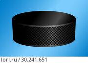 Купить «Hockey puck on a blue», иллюстрация № 30241651 (c) Сергей Лаврентьев / Фотобанк Лори