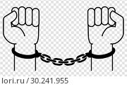 Купить «Handcuffs on the hands of the criminal», иллюстрация № 30241955 (c) Сергей Лаврентьев / Фотобанк Лори
