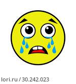 Купить «Crying smiley on a white background», иллюстрация № 30242023 (c) Сергей Лаврентьев / Фотобанк Лори