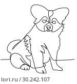 Купить «Continuous line drawing of puppy», иллюстрация № 30242107 (c) Сергей Лаврентьев / Фотобанк Лори