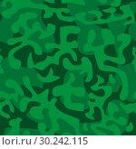 Купить «Seamless camouflage pattern in green tones», иллюстрация № 30242115 (c) Сергей Лаврентьев / Фотобанк Лори