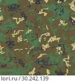Купить «Seamless green camouflage of pixel pattern», иллюстрация № 30242139 (c) Сергей Лаврентьев / Фотобанк Лори