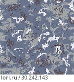 Купить «Seamless gray camouflage of pixel pattern», иллюстрация № 30242143 (c) Сергей Лаврентьев / Фотобанк Лори