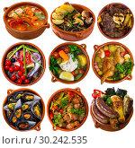 Купить «Collage of different meals isolated», фото № 30242535, снято 17 сентября 2019 г. (c) Яков Филимонов / Фотобанк Лори