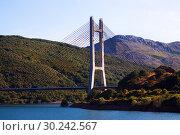 Купить «bridge over reservoir», фото № 30242567, снято 20 марта 2019 г. (c) Яков Филимонов / Фотобанк Лори