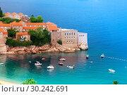 Купить «St Stefan island with monastery in Montenegro», фото № 30242691, снято 11 сентября 2012 г. (c) Сергей Новиков / Фотобанк Лори
