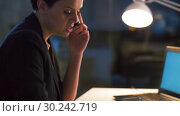 Купить «businesswoman calling on cellphone at night office», видеоролик № 30242719, снято 28 февраля 2019 г. (c) Syda Productions / Фотобанк Лори