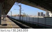 Купить «Modern high-speed train Lastochka. Little Ring of the Moscow Railways- MCC,or MK MZD, is a 54.4-kilometre-long orbital railway. Russia», видеоролик № 30243059, снято 3 марта 2019 г. (c) Владимир Журавлев / Фотобанк Лори