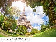Купить «View of the Eifel tower from bellow», фото № 30251935, снято 6 августа 2016 г. (c) Сергей Новиков / Фотобанк Лори