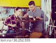Купить «master and student are standing on workplace», фото № 30252555, снято 10 октября 2017 г. (c) Яков Филимонов / Фотобанк Лори