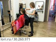 Купить «Парикмахер делает стрижку женщине клиентке перед зеркалом в салоне парикмахерской», фото № 30260971, снято 28 февраля 2019 г. (c) Светлана Попова / Фотобанк Лори