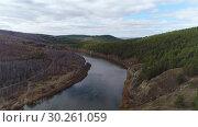 Купить «Аэросъёмка с дрона. Забайкалье, река Ингода, тайга.», видеоролик № 30261059, снято 8 октября 2018 г. (c) kinocopter / Фотобанк Лори