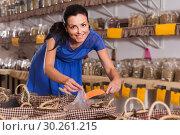 Купить «female customer taking сereals with scoop from basket in eco market», фото № 30261215, снято 13 июня 2017 г. (c) Яков Филимонов / Фотобанк Лори