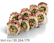 Купить «Few pieces of sushi roll california. Two rows of sushi sprinkled with unagi sauce. Reflection. Isolated on white background.», фото № 30264179, снято 10 августа 2018 г. (c) easy Fotostock / Фотобанк Лори