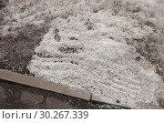 Купить «Противогололёдный реагент на газоне у тротуара в Москве», фото № 30267339, снято 7 марта 2019 г. (c) Александр Курлович / Фотобанк Лори
