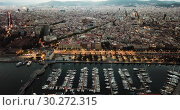Купить «View from drones of sailboats and yachts in old port of Barcelona and gothic quarter at night», видеоролик № 30272315, снято 28 сентября 2018 г. (c) Яков Филимонов / Фотобанк Лори
