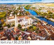 Купить «Aerial view of famous old town Auxerre with river in France», фото № 30273891, снято 11 октября 2018 г. (c) Яков Филимонов / Фотобанк Лори