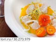 Купить «Ceviche with codfish, avocado sauce», фото № 30273979, снято 22 августа 2019 г. (c) Яков Филимонов / Фотобанк Лори