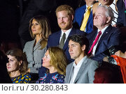 Купить «Royals and politicians attend the Invictus Games Opening Ceremony at Air Canada. Featuring: Melania Trump, Prince Harry, Justin Trudeau, Sophie Grégoire...», фото № 30280843, снято 23 сентября 2017 г. (c) age Fotostock / Фотобанк Лори