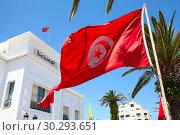 Купить «Красный флаг Туниса на фоне административного здания и голубого неба», фото № 30293651, снято 6 мая 2012 г. (c) Кекяляйнен Андрей / Фотобанк Лори