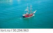 Купить «Old yacht with tourists in sea, Spain», фото № 30294963, снято 8 июля 2016 г. (c) Яков Филимонов / Фотобанк Лори