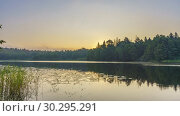 Купить «Timelapse of foggy sunrise over forest lake», видеоролик № 30295291, снято 9 марта 2019 г. (c) Sergey Borisov / Фотобанк Лори
