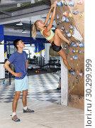 Купить «Couple of climbers on joint workout», фото № 30299999, снято 16 июля 2018 г. (c) Яков Филимонов / Фотобанк Лори